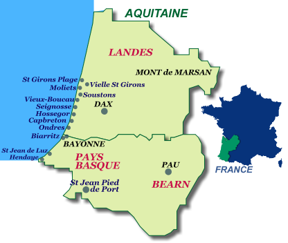 map of Holiday rentals on the Basque and Landes coast in South West France